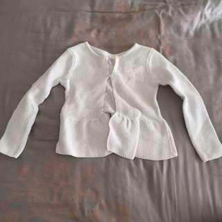 Girl Kids White Knit Sweater Cardigan Jacket Jaket Anak Size 18-24 Months