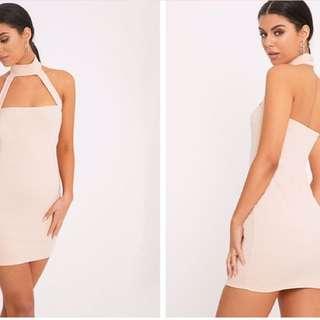 Corin Nude Strap Detail Bodycon Dress