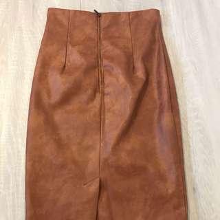 Shieke Tube Brown Leather Skirt