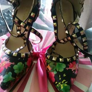 Floral Strappy Stud High heels SHOes/ 31/2 Inch