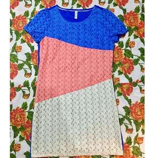 tri color dress