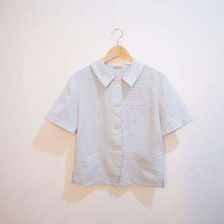 Vintage Baby Blue Collar Shirt