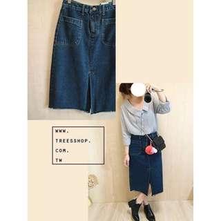 *全新轉賣*TRee's ♥ shop 韓 美式率性風 漂亮開岔口袋牛仔長裙 M號