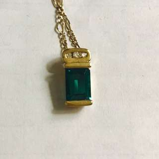 9 ct carat gold diamond and emerald pendant