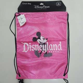 Authentic Disneyland Disney Parks Pink Mickey Mouse Drawstring Backpack Bag
