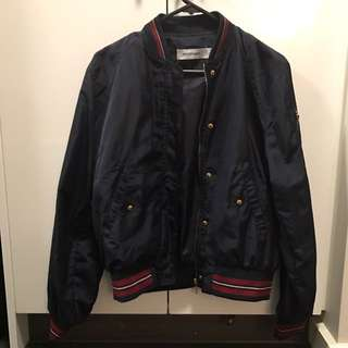 bomber jacket with red stripes collar and wrist NEGOTIABLE