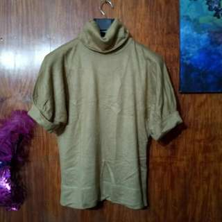 Tan Knitted Turtle Neck Top