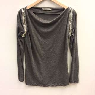 Sacai Luck grey with pearls top size 2