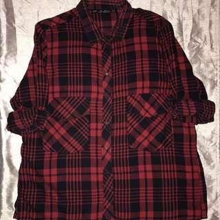 Red Flannel Shirt // ZARA