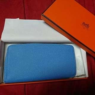 Hermes 藍色絲巾皮夾