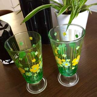 Lovely Vintage Flowery Green Glass Footed Glasses.