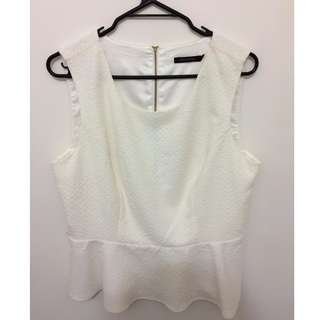 Portmans white peplum top