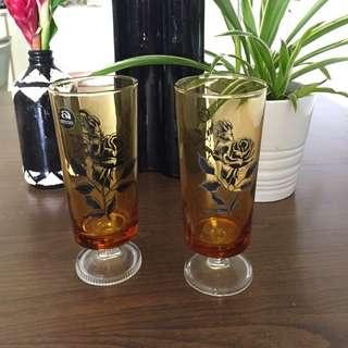 Black Rose Vintage Amber Footed Glasses.