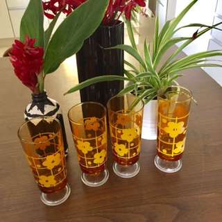 Lovely Yellow Flower Vintage Amber Footed Glasses.