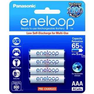 Panasonic Eneloop White 4 x AAA 800 mAh Rechargeable Battery