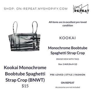 Kookai Monochrome Boobtube Spaghetti Strap Top BNWT