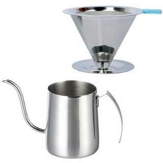 304不鏽鋼手沖咖啡2件組(濾網 + 手沖咖啡壺350ml),含運只要NT$740哦!