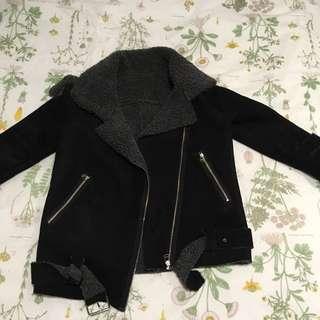 Black Shearling Suede Jacket