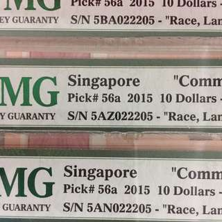 📣SRSN Identical no's 🇸🇬SG50 Notes of $10 Currency