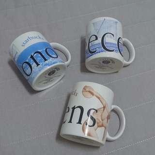 Starbucks City Mug_ 星巴克絕版老杯2002年希臘系列 - 3個一組