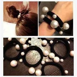 🚚 韓版珍珠氣質髮圈(2條)