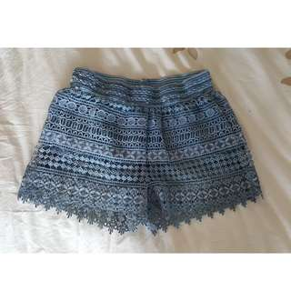 Textured blue shorts
