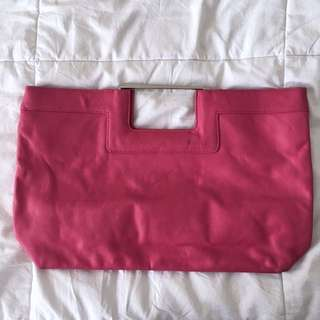 Vintage Banana Republic Flamingo Pink Wide Clutch