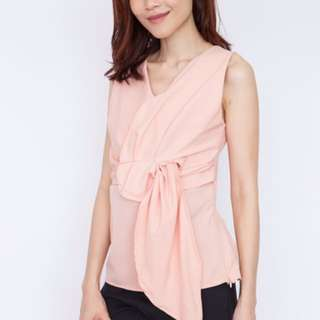 Knot Front Sleeveless Blouse - Pink
