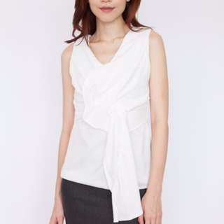 Knot Front Sleeveless Blouse - White