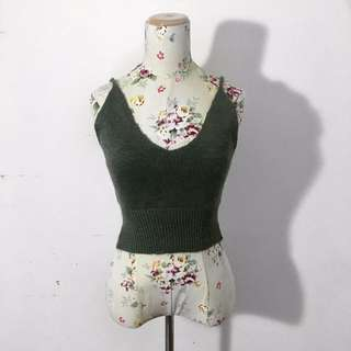 Green deep v-neck knit tank