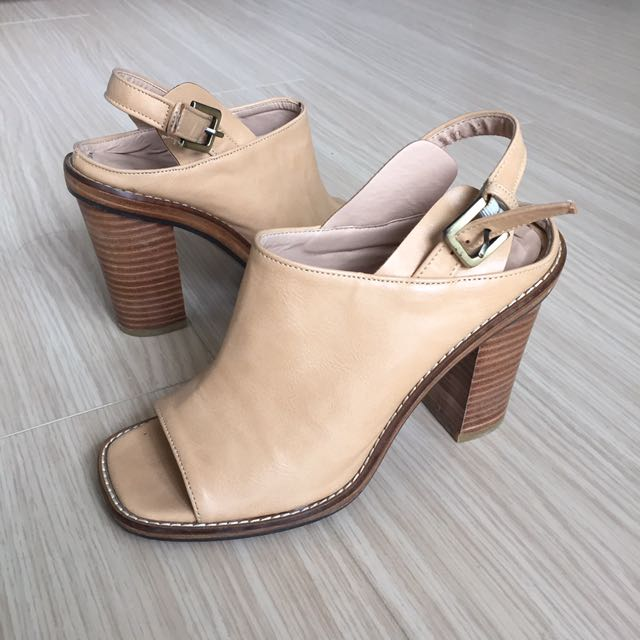 7.5 Open Toe Open Back Booties Tan Colour