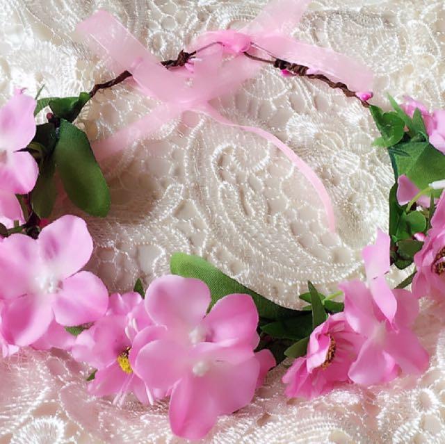 優雅森林系粉色伴娘花圈花環