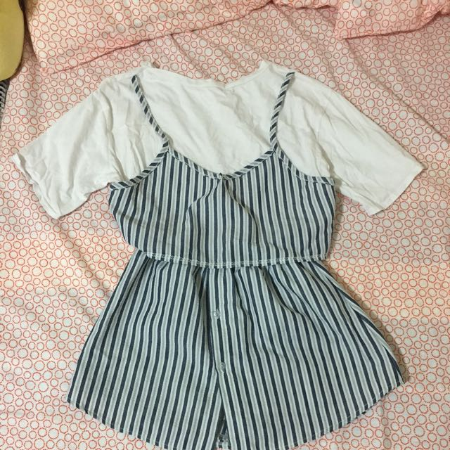 兩件式條紋洋裝