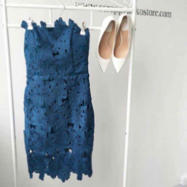 藍綠色氣質蕾絲洋裝
