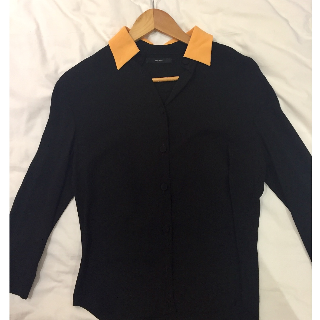 Alex Perry black silk shirt with orange collar