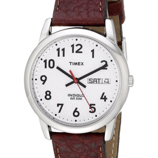 ⌚️AUTHENTIC TIMEX  Day-Date Leather Strap Watch