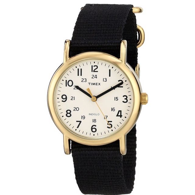 ⌚️AUTHENTIC TIMEX Weekender Gold-Tone Watch with Black Nylon Band