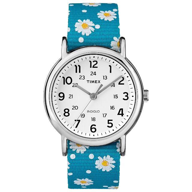 ⌚️AUTHENTIC TIMEX Weekender Reversible Blue/Floral Nylon Slip-Thru Strap Watch