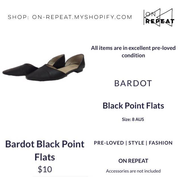 Bardot Black Pointed Flats
