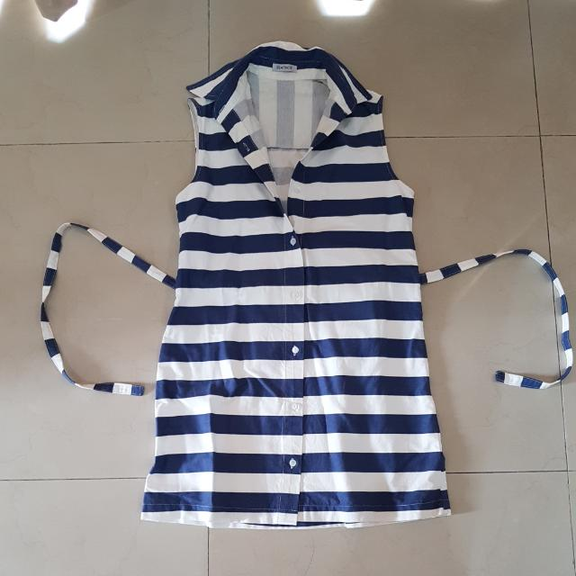 Beatrice Stripes Sailor Dress With Collar