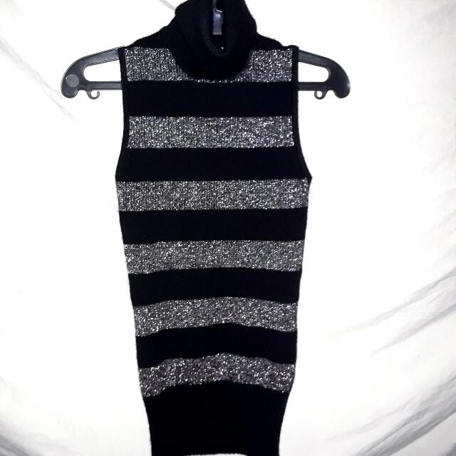 Black And Silver Turtle Neck Top