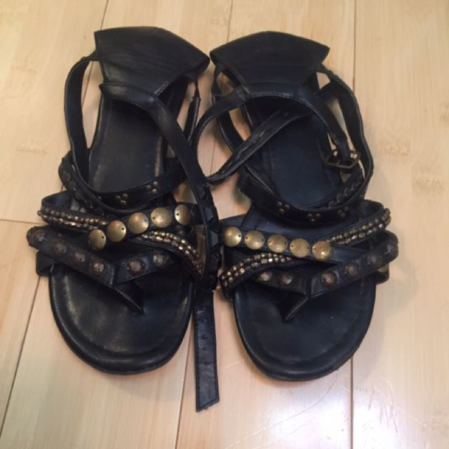 Black Gladiator Sandals Size 7