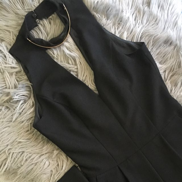 Black Jumpsuit With Gold Metal Choker