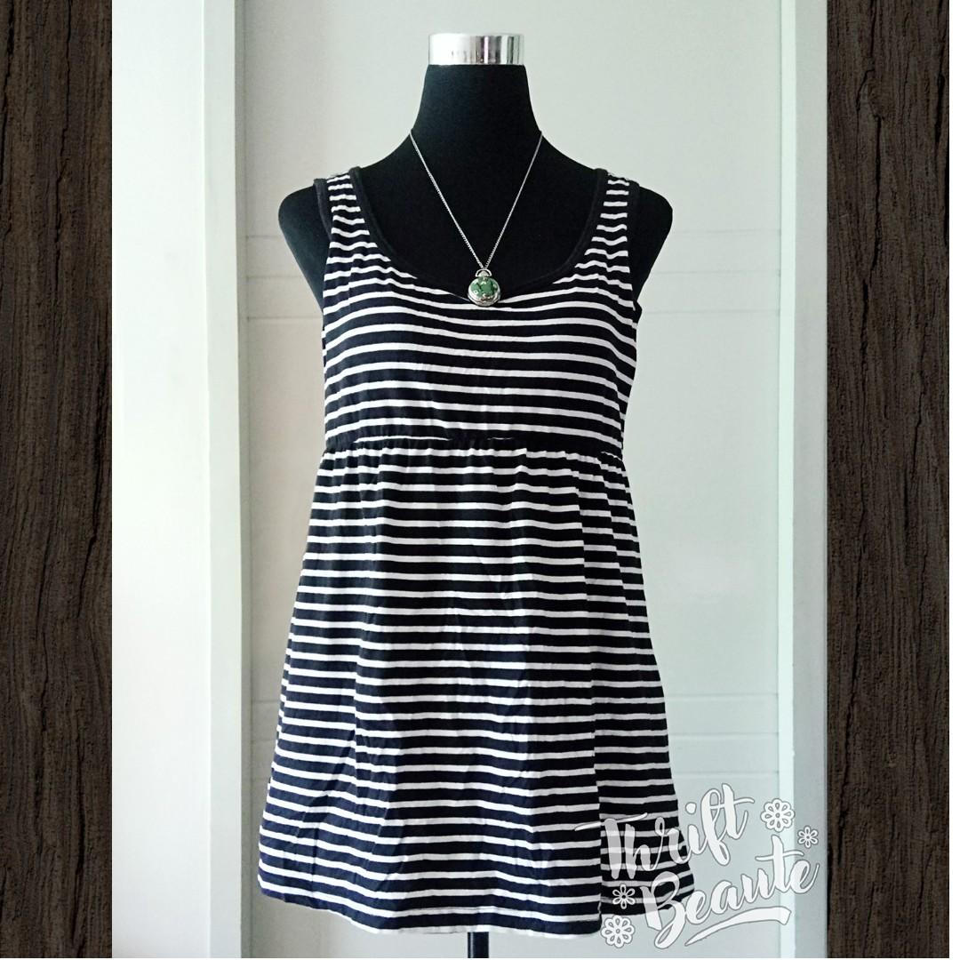 Black Stripe Tank Cotton Dress