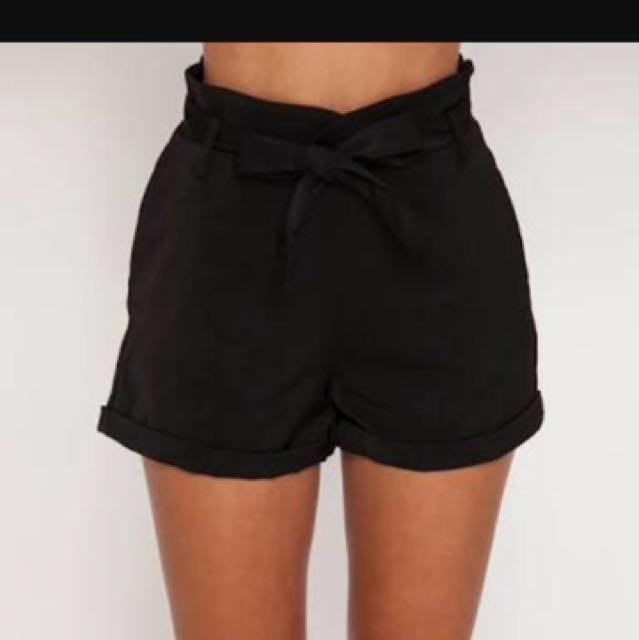 Black Tie Up Shorts