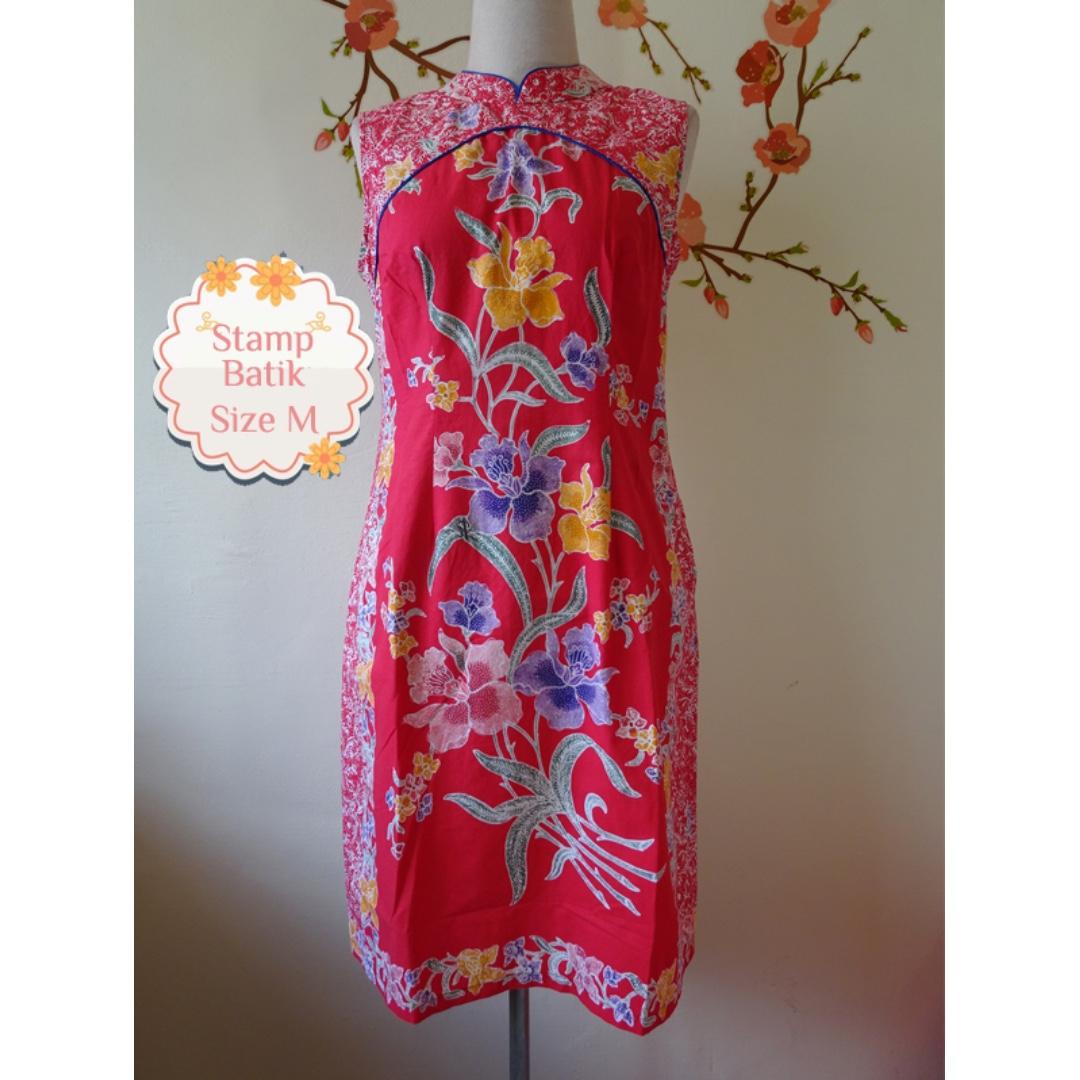 BN Orchid Cheongsam Batik Dress Size M, Women's Fashion