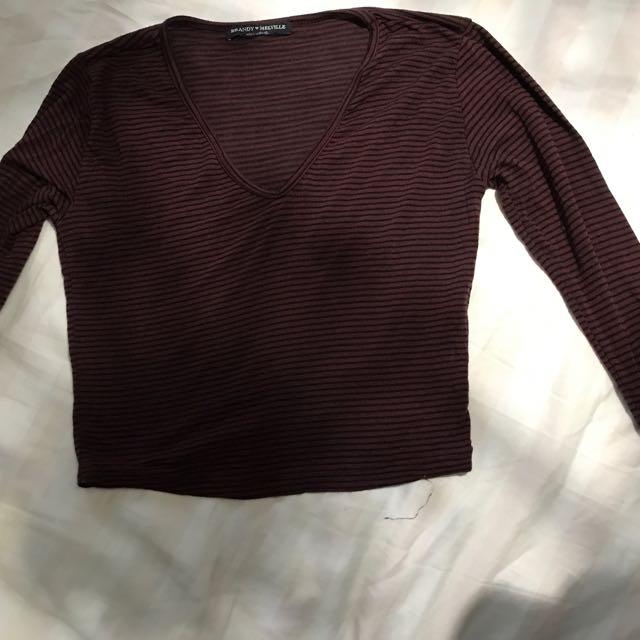 Burgundy Long Sleeve Crop Top