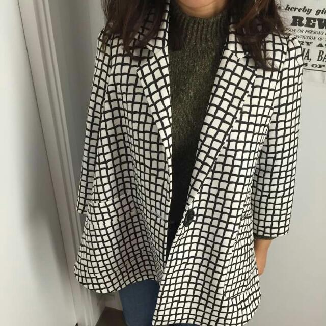 Checkered Black & White Coat