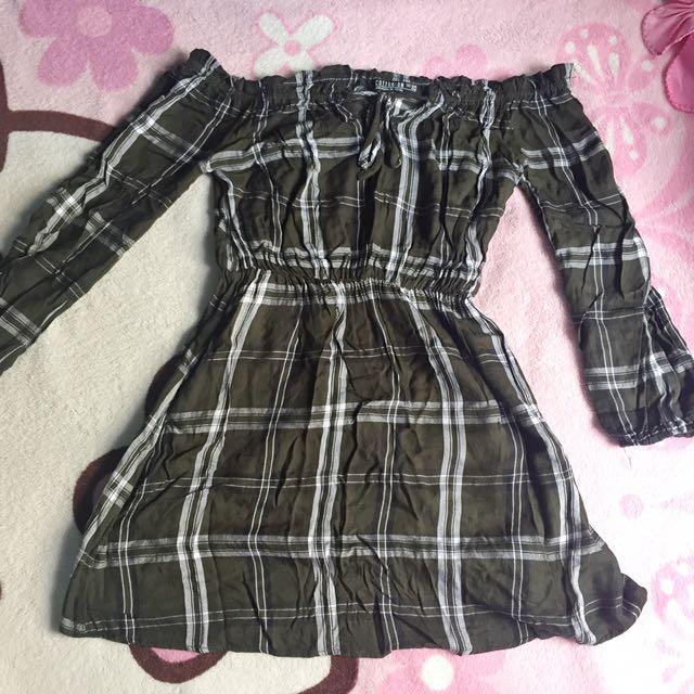 Cotton On Off-shoulder Plaid Dress