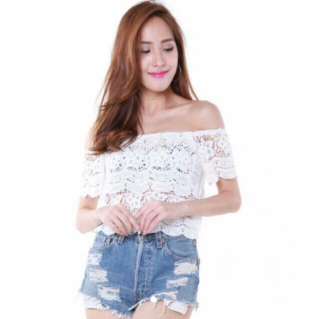 6f2444d86b1 Crochet Lace Flora White Off Shoulder Top, Women's Fashion, Clothes, Tops  on Carousell